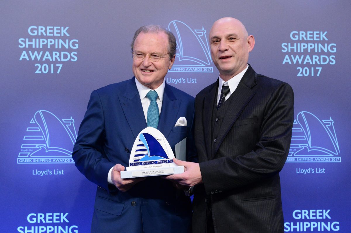 "George Tsavliris of sponsor Tsavliris Salvage Group presenting the Seafarer of the Year Award to Capt. Iakovos Daniil of ""Hamburg""."