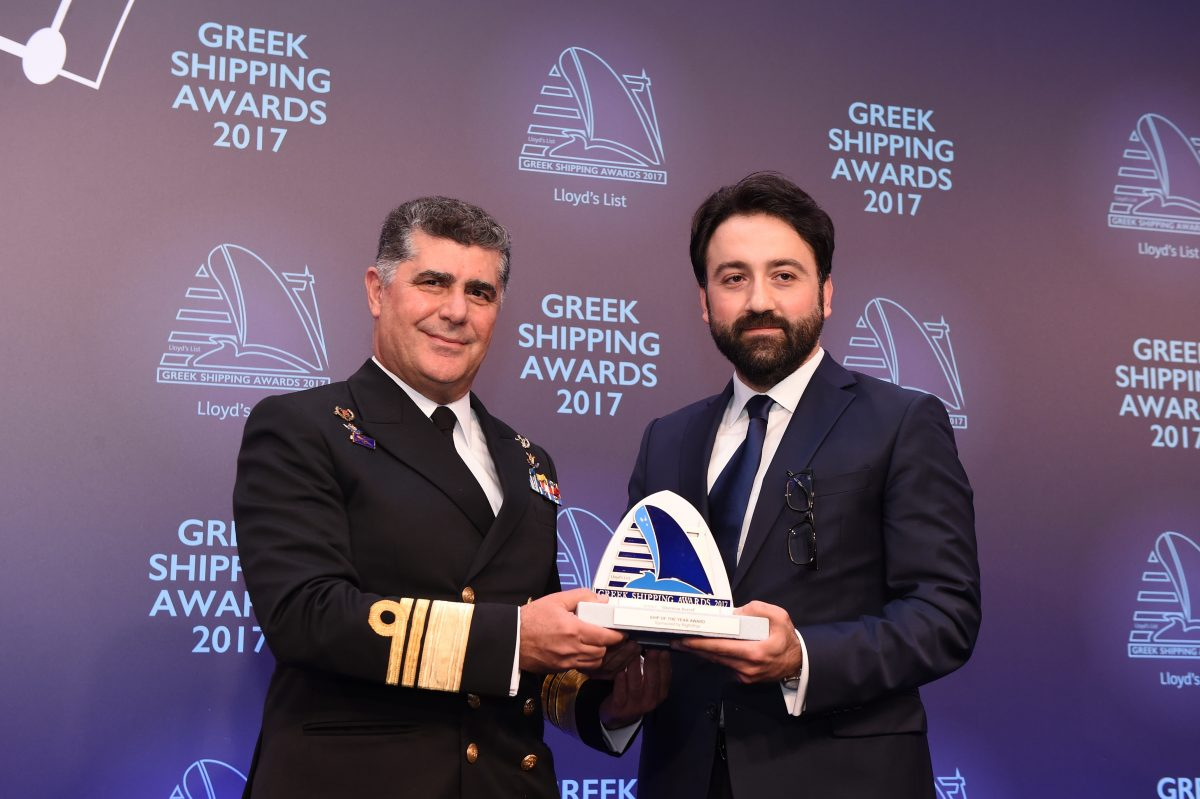 "Chief of the Hellenic Navy General Staff, Vice Admiral Nikolaos Tsounis HN accepting the Ship of the Year Award for ""Georgios Averof"" from Taner Umac of sponsor RightShip."