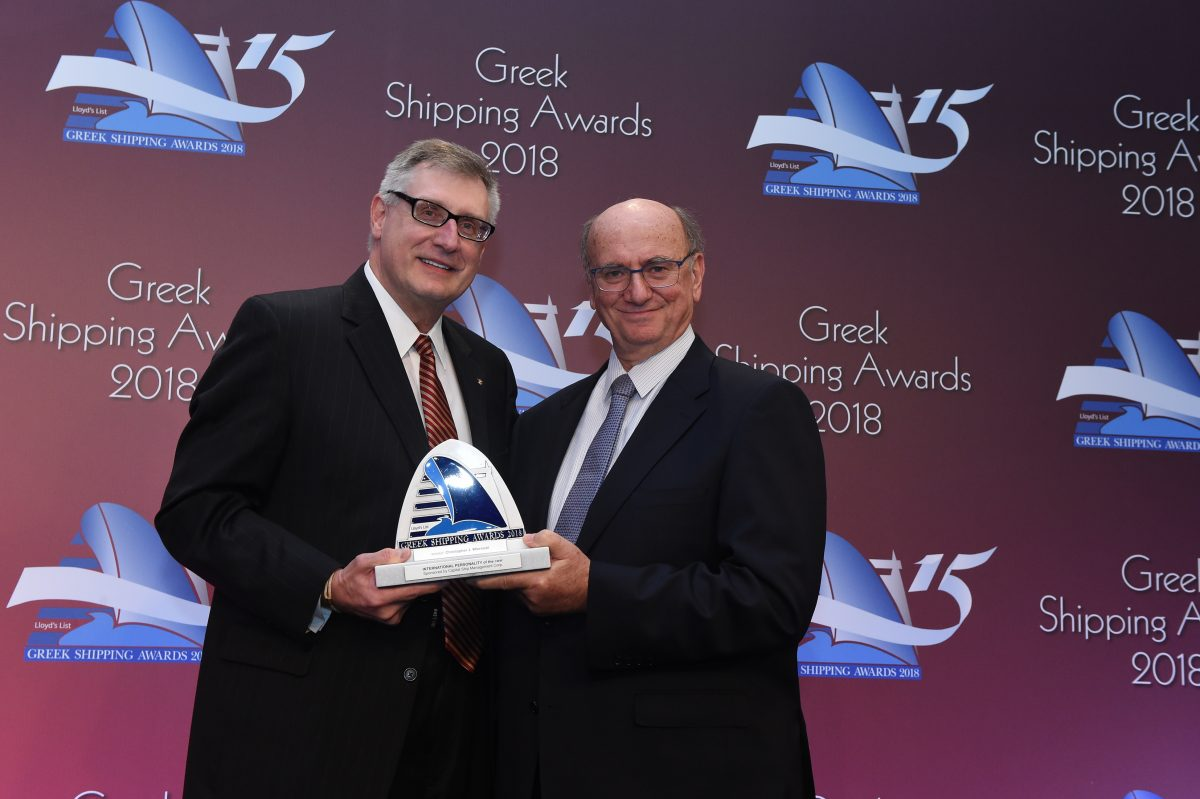 Christopher J. Wiernicki accepting the International Personality of the Year Award from Gerry Ventouris of sponsor Capital Ship Management Corporation.