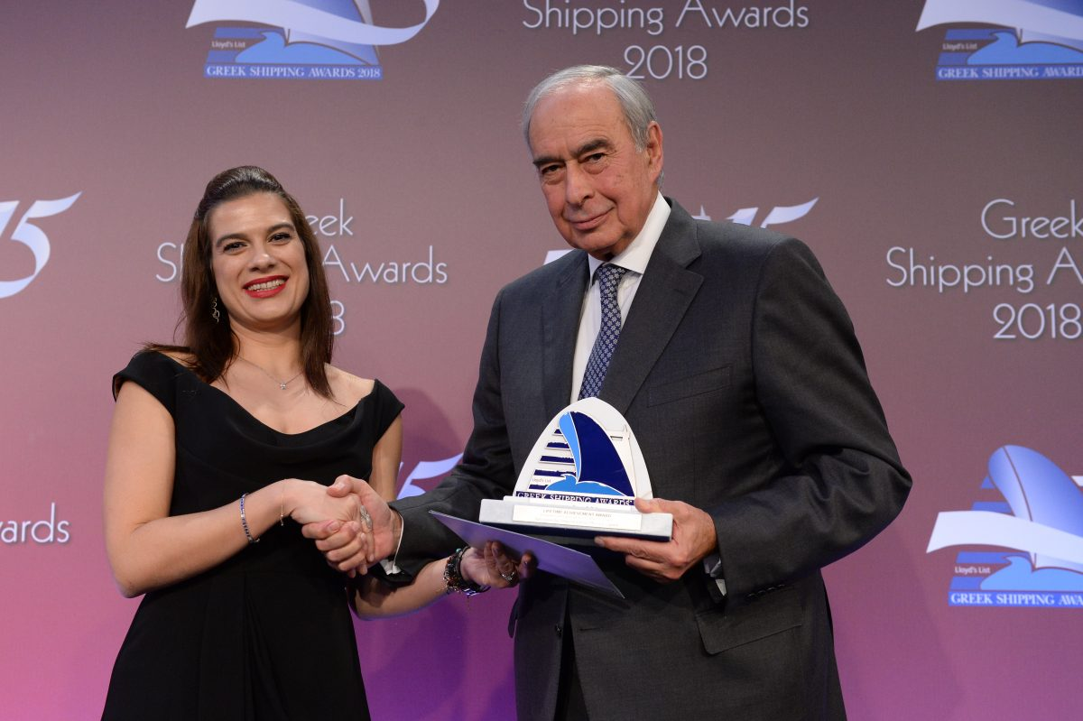 Cyprus Shipping Deputy Minister Natasa Pilides presenting the Lloyd's List/Propeller Club Lifetime Achievement Award to Simos P. Palios.