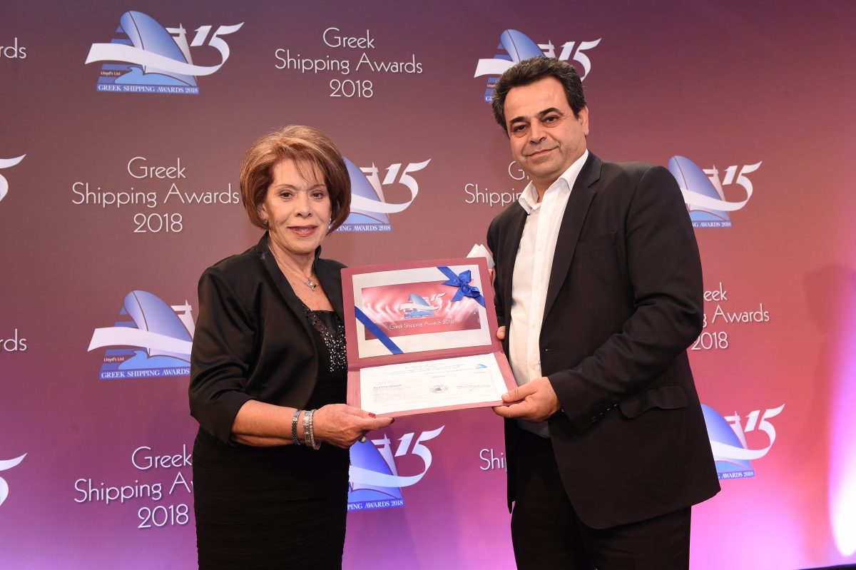 Alternate Minister Nektarios Santorinios (right) presenting the Lloyd's List Greek Shipping Awards annual donation to ARGO to Despina Papastelianou.