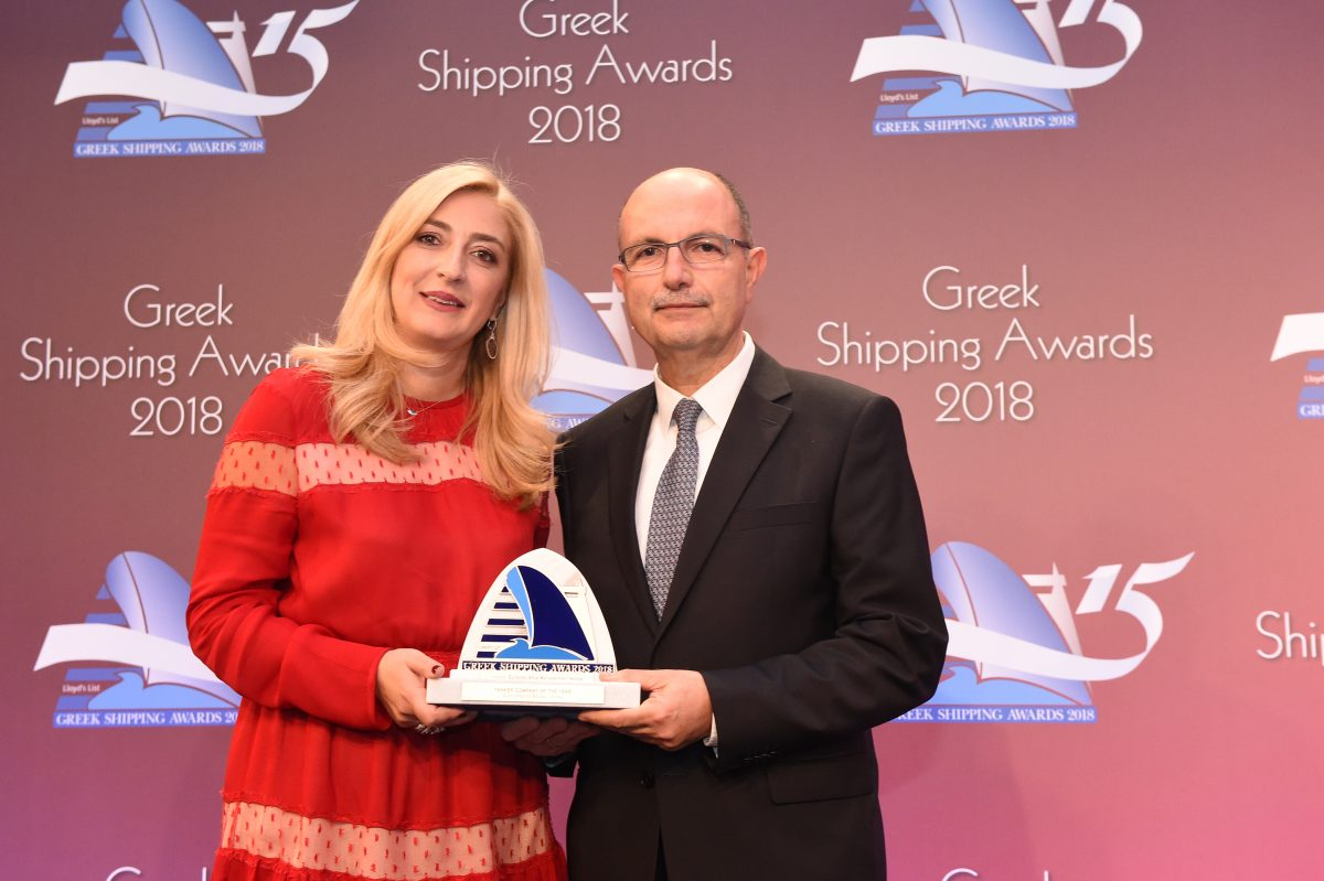 Paillette Palaiologou of sponsor Bureau Veritas presenting the Tanker Company of the Year Award to Stamatis Bourboulis of Euronav Ship Management Hellas.